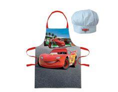 Delantal más gorro McQueen. Cars Original y divertido conjunto de delantal de cocina más gorro a juego, inspirado en la película de animación Cars de Disney.