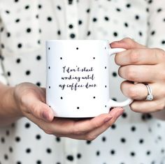 I dont start working until my coffee does The design is professionally printed on both sides of a white, 11oz, 3.7 tall ceramic mug. Dishwasher and