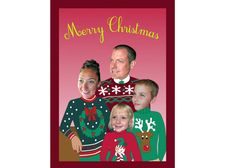 Christmas Sweater Family Holiday Card In Red-  Personalized & Printable Digital File