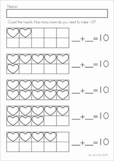 Kindergarten Valentine's Day Math and Literacy Worksheets & Activities No Prep. A page from the unit: how many more to make 10?