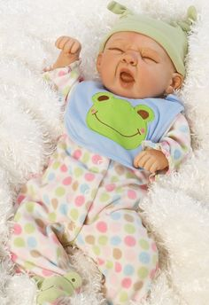 Realistic Boy Baby Doll - Sleepy Frog, 20 inch Weighted Baby in Vinyl