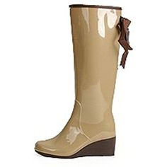 Ribbon Mid Heels Women Rain Boots Wedge Ladies Rain Shoes Pure Color And Leopard Waterproof Rubber Boots Beige 7.5 * Be sure to check out this awesome product. (This is an affiliate link and I receive a commission for the sales) #Outdoor