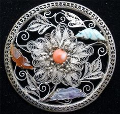 Art Deco Chinese Export Brooch Carved Amethyst Carnelian Coral Silver Filigree | eBay