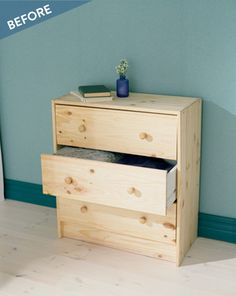 Check out this super inventive IKEA RAST dresser hack that uses wood shims to transform the front of the drawers.