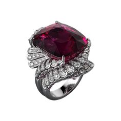 High Jewelry ring Platinum, one 39.81-carat cushion-shaped rubellite, pink sapphires, brilliants.