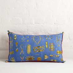 Hand-dyed & hand-painted silk paper knots cushion in blue, by Rose de Borman
