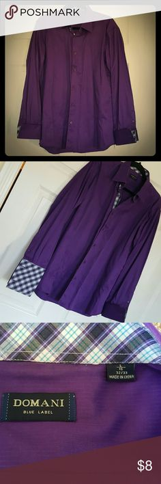 NWOT Men's dress shirt NWOT Men's dress shirt. Large, 16 neck. 32/33. Too big for my husband. Beautiful purple with the option of a checkered cuff and color. Priced to go. Every Bundle recieves a free gift!! Domani Tops Button Down Shirts