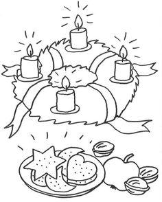 Am Adventskranz brennen schon vier Kerzen. Bald ist Weihnachten. Da schmecken die Plätzchen besonders lecker. Ihr Kind kann die kostenlose Malvorlage bunt ausmalen.