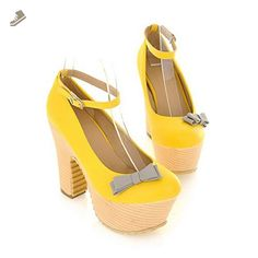 55d22b662d1 VogueZone009 Womens Closed Toe Round Toe High Heels PU Soft Material Solid  Pumps with Bowknot