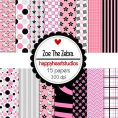 Digital Scrapbook  ZoeTheZebra by azredhead on Etsy, $1.50