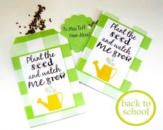 Teacher's Seed Packet for back to school gift for teachers Teacher Appreciation Gifts, Teacher Gifts, Teacher Stuff, Templates Printable Free, Free Printables, Envelope Templates, Seed Packet Template, Kids Notes, Preschool Gifts