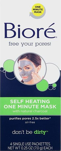 Bioré Self Heating One Minute Mask gives you purified pores in just 1 minute. This unique formula heats on contact with water to open pores and draw out pore-clogging dirt and oil, then cools leaving skin tightly smooth and refreshed. Natural Charcoal, Charcoal Mask, Natural Skin, Cellulite Scrub, Cellulite Remedies, Baking Soda And Lemon, Dark Circles Under Eyes, Under Eye Bags, Peel Off Mask