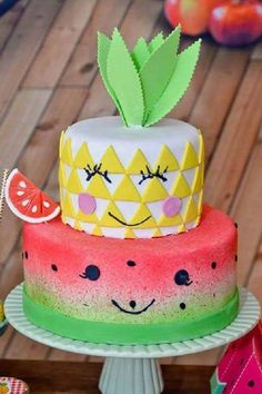 A fruit themed party is such a cute choice for a 1st birthday! Either mix it up with a bunch of fruit and have a tutti-frutti party or simply pick your daughter's favorite fruit and go with that. If you are throwing the party of the summer how about going for something more tropical like pineapples. See more party ideas and share yours at CatchMyParty.com #catchmyparty #partyideas #fruitbirthdayparty #girl1stbirthdayparty #fruit1stbirthdayparty #fruit #girl1stbirthdayideas… Fruit Birthday, Birthday Parties, Birthday Cake, I Party, Fresh Fruit, Desserts, Food, Anniversary Parties, Birthday Cakes