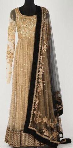 FatimaBi Plussize Dresses Golden Anarkali Salwar Kameez Royal Indian Women Suit #FatimaBi #AnarkaliKameez