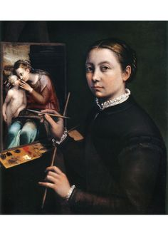 Sofonisba Anguissola (1531/35-1625) • Self-portrait at the Easel Painting a Devotional Panel, 1556