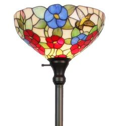 Amora Lighting Tiffany-Style Hummingbirds Floral Torchiere Floor Lamp, x Tall Floor Lamps, Floor Lamp With Shelves, Decorative Floor Lamps, Hummingbird Flowers, Custom Stained Glass, Torchiere Floor Lamp, Contemporary Floor Lamps, Lamp Shade Store