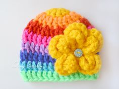 Rainbow Newborn Hat, Multicolor Baby Hat, Striped Girl Hat, Chunky Girl Hat, Chunky Baby Hats, Baby Shower Gifts, Hospital Baby Outfits, Hat by TinySmiley on Etsy https://www.etsy.com/listing/472864091/rainbow-newborn-hat-multicolor-baby-hat