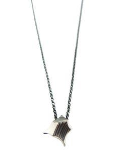 Meteorite necklace - oxidized sterling silver - Sharon Z Jewelry
