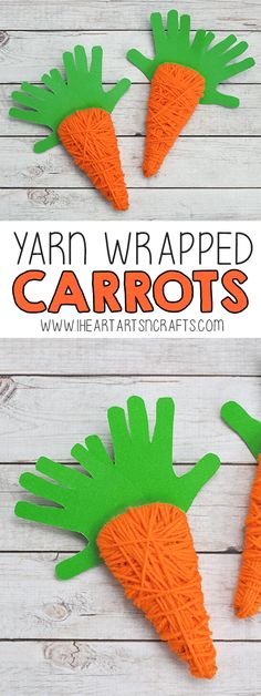 Yarn Wrapped Handprint Carrot Craft For Kids - I Heart Arts n Crafts Arts And Crafts For Adults, Arts And Crafts House, Easy Arts And Crafts, Crafts For Seniors, Crafts For Kids To Make, Easter Crafts For Kids, Toddler Crafts, Easter Ideas, Art And Craft Videos