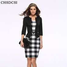 2017 Women New Fashion Autumn Spring Style Faux Two Piece Elegant Plaid Long Sleeve Pencil Dresses Office Wear Work Outfits S122(China (Mainland))