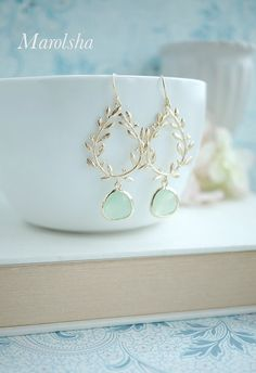 Laurel Wreath Earring Light Mint Mint Green Gold by Marolsha