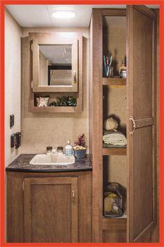 Minimalist RV Bathroom Remodel and Organization Ideas White Bathroom Paint, Bathroom Vanity Decor, Rv Bathroom, Bathroom Cabinets, Bathroom Ideas, Rv Cabinets, French Bathroom, Bathroom Plants, Bathroom Layout