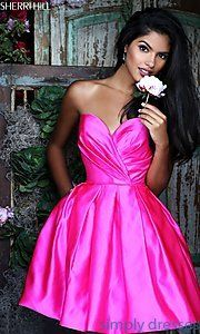 Shop short Sherri Hill dresses and homecoming dresses at Simply Dresses. Fit-and-flare short dresses for sweet-16 and wedding-guest dresses.