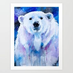 Polar bear, watercolor, painting print , animal...