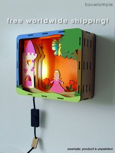 They offer three themes: princess, bunny, and dinosaur. By Bouwlampie Woodworking For Kids, Woodworking Projects Plans, Cardboard Crafts, Paper Crafts, Laser Cut Lamps, Do It Yourself Kit, Scroll Saw, Shadow Box, Night Light