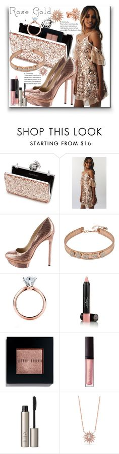 """""""Rose Gold"""" by marionmeyer ❤ liked on Polyvore featuring Miss Selfridge, B Brian Atwood, Betsey Johnson, Tiffany & Co., Laura Geller, Bobbi Brown Cosmetics, Laura Mercier, Ilia, Anne Sisteron and Kenza Lee"""