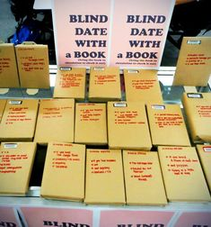 This would be such an awesome lesson! Around valentines day, have students pick out a blind date with a book- good idea for book exchange party? Way to swap books? Books And Tea, Book Club Books, Library Activities, Library Games, Library Boards, Local Library, Interactive Activities, Library Ideas, Blind Dates