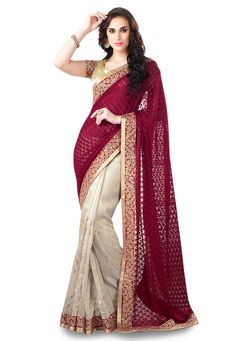 Maroon Faux Georgette Brasso and Art Silk Saree With Blouse: STL384