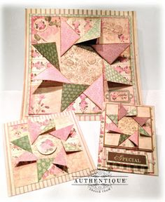Gorgeous Paper Quilt Design including Wallhanging, Mini Album and Greeting Card Size Dimensions!