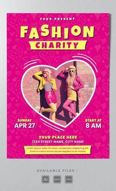 Fashion Charity Poster Template AI, EPS Charity Poster, Poster Templates, Street Names, Lorem Ipsum, Fashion, Moda, Fashion Styles, Fashion Illustrations