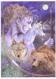 The Huntress Greek Goddess Artemis. the Huntress, her symbols of power influenced by the moon, twin sister of Apollo. Artemis Goddess, Goddess Art, Moon Goddess, Fantasy World, Fantasy Art, Pagan Art, Greek Gods, Gods And Goddesses, Ancient Goddesses