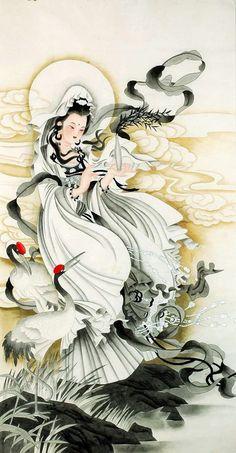 Guan Yin Bodhisattva Avalokiteshvara Japanese Painting, Chinese Painting, Chinese Art, Japanese Art, Oriental, Asian Artwork, Geisha Art, Tibetan Art, Buddha Art