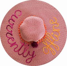 Currently Offline Floppy Hat, Pom Pom Sequin Hat, Sequin Message Beach Hat by SummerSequins on Etsy