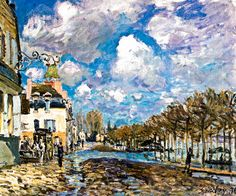 Alfred Sisley - The Flood at Port-Marly, 1876 at Thyssen-Bornemisza Museum Madrid Spain