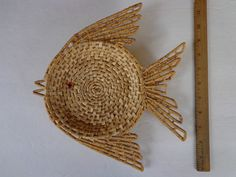 Vintage Fish Shaped Basket Nautical Wall Decor / Seashell holder