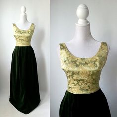 Vintage Gown Gold Vintage Dress Green Vintage Dress by SLVintage