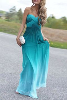 Bold teal, blue, aquamarin mix :: Ombre Color Sweetheart Neck Sleeveless Maxi…