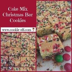 Cake Mix Christmas Bar Cookies: ingredients, directions, and special baking tips from The Elf to make these amazing and super-easy bar cookies using a cake mix. Cake Mix Cookie Recipes, Chocolate Cookie Recipes, Cake Mix Cookies, Chocolate Chip Cookies, Cookies Et Biscuits, Christmas Cookies Kids, Christmas Tea Party, Cookies For Kids, Christmas 2019