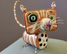 Sculpture Art, Sculptures, Junk Art, Sonoma County, Garden Crafts, Cat Art, Folk, Recycling, Christmas Ornaments