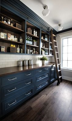 Navy Blue Kitchen Pantry Cabinet Pantry with Navy Blue and Walnut Countertop Walnut Shelves and a custom Walnut ladder to reach the upper cabinets Pantry Navy Blue Pantry Pantry Pantry Cabinets Kitchen Pantry Design, Kitchen Pantry Cabinets, Kitchen Interior, Upper Cabinets, Kitchen With Blue Cabinets, Blue Kitchen Ideas, Kitchen Dresser, Red Kitchen, Pantry Room