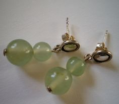Double beads natural jade sterling silver earrings