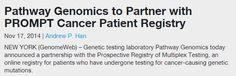 Pathway Genomics to Partner with PROMPT Cancer Patient Registry | GenomeWeb