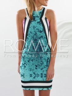 Green Sleeveless Floral Zipper Dress
