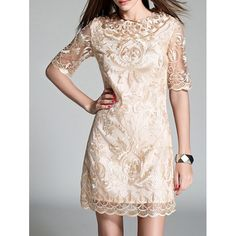 Embroidery 1/2 Sleeve Dress (APRICOT,L) in Lace Dresses | DressLily.com