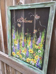 Welcome wild flowershand painted window screen by RebecaFlottArts Window Screen Crafts, Painted Window Screens, Old Window Frames, Window Art, Window Ideas, Antique Windows, Old Windows, Recycled Windows, Vintage Windows