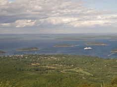 View from Cadillac Mountain in Acadia National Park, Bar Harbor, Maine.  Our cruise ship is in the distance. September 2010